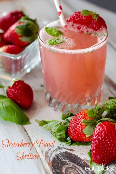 Nutritious Strawberry Basil Spritzer Ultimate List of Holiday Cocktail & Mocktail Recipes