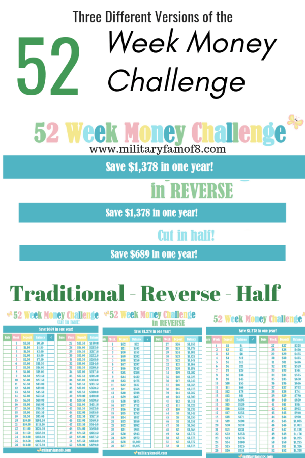 Different Versions of the 52 Week Money Challenge Printable