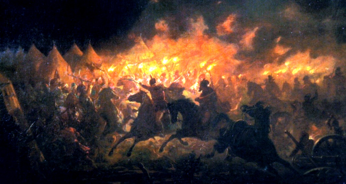 Dracula leading a charge against Islamic troops in the Battle with Torches in Romania, 1492 (by Theodor Aman).