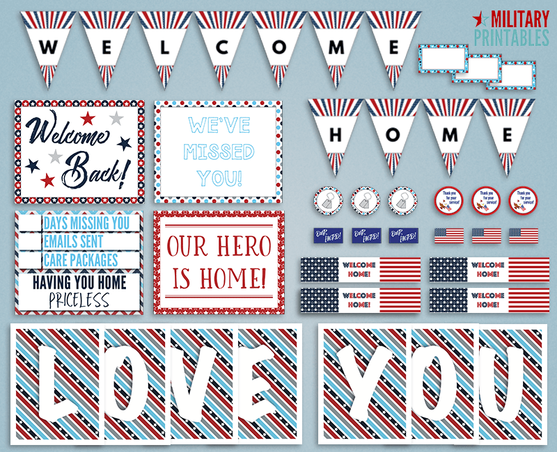 photograph about Welcome Home Sign Printable named Free of charge Patriotic Welcome Household Printable Pennant Banner