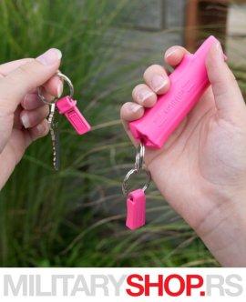 Peper sprej roze boje dodatak privezak za ključeve