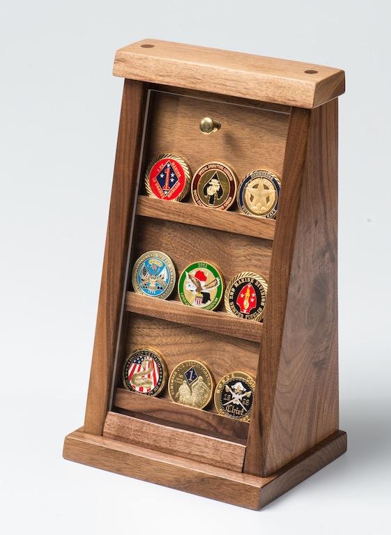 Small Walnut Challenge Coin Displays