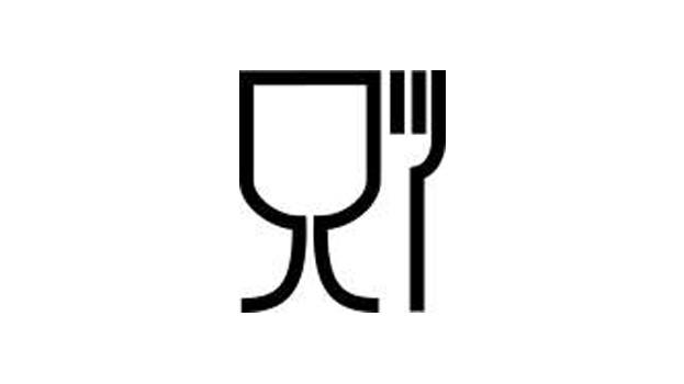 Bild på symbolen för förpackningar som är bra att använda för livsmedel.