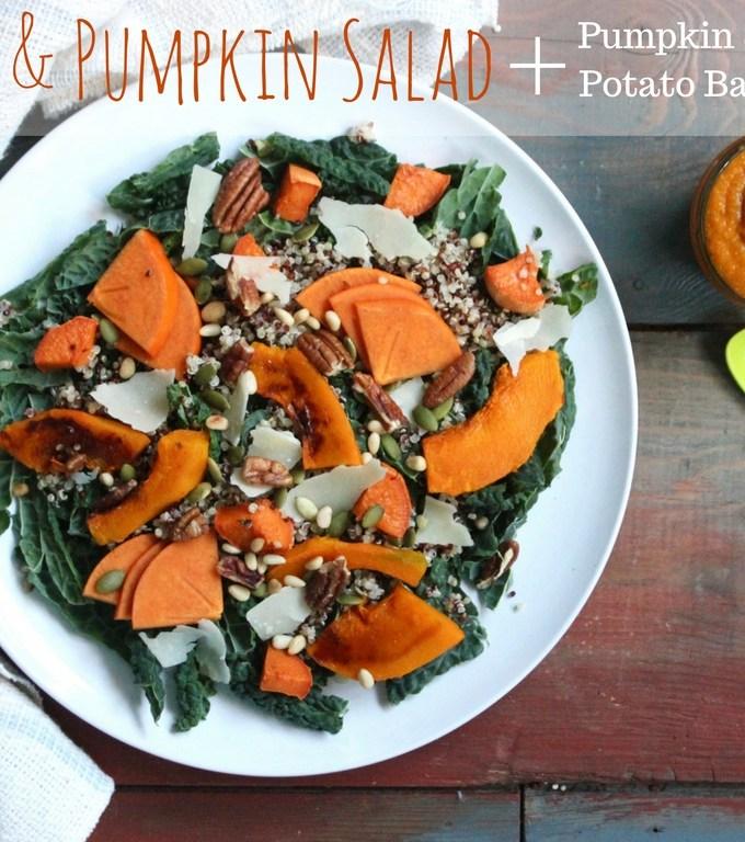 Family Meal – Pumpkin & Kale Salad and Pumpkin, Quinoa & Sweet Potato Baby Food