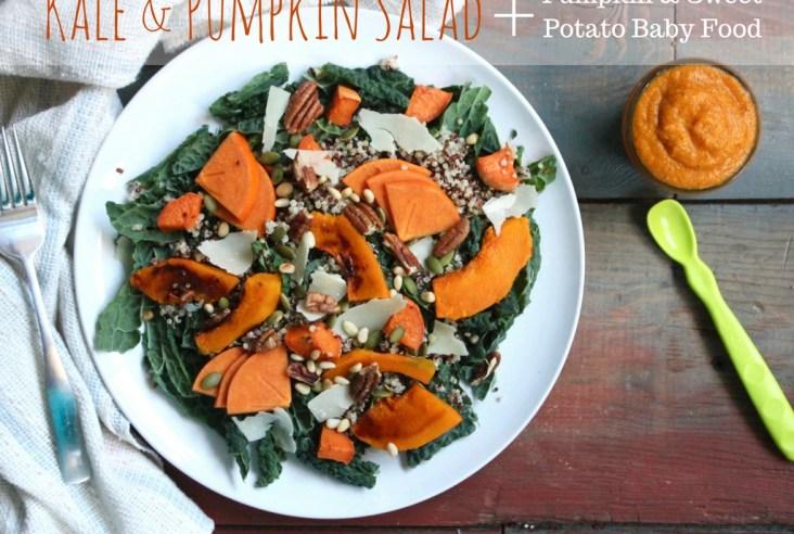 Kale and Pumpkin Salad and Pumpkin & Sweet Potato Baby Food