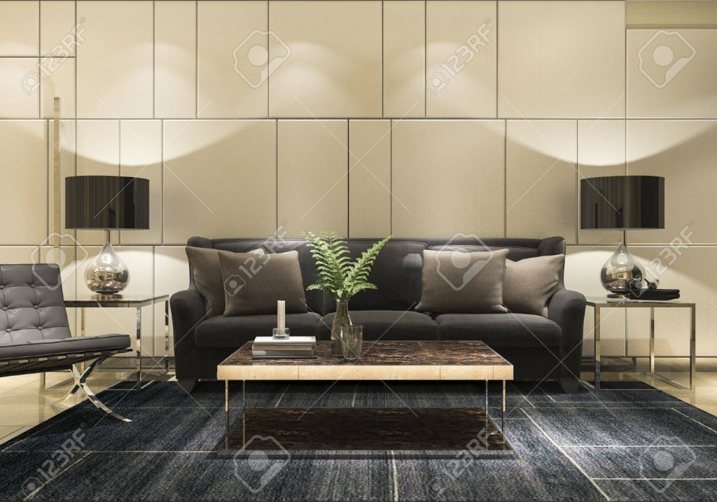 3d rendering luxury and modern living room with golden wall and