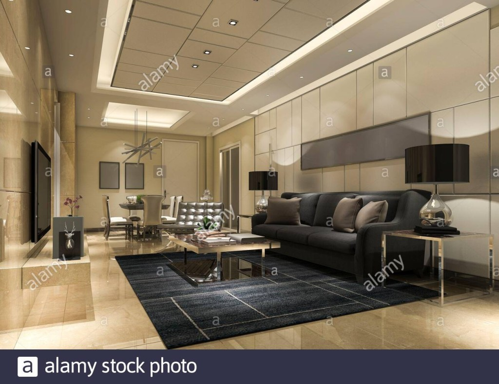 3d rendering luxury and modern living room with golden wall