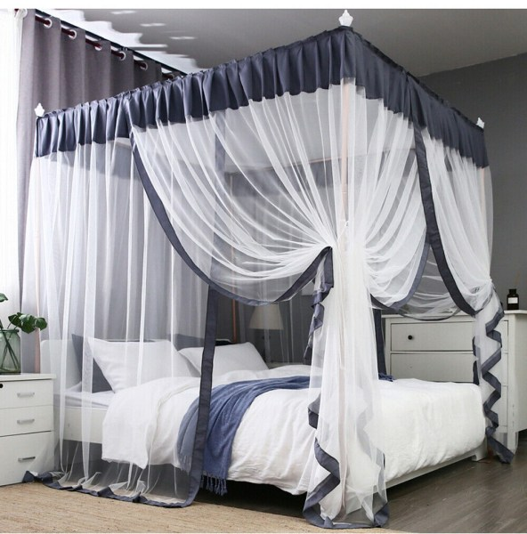 4 corners post curtain bed canopy bed frame canopies net wedding bed decoration