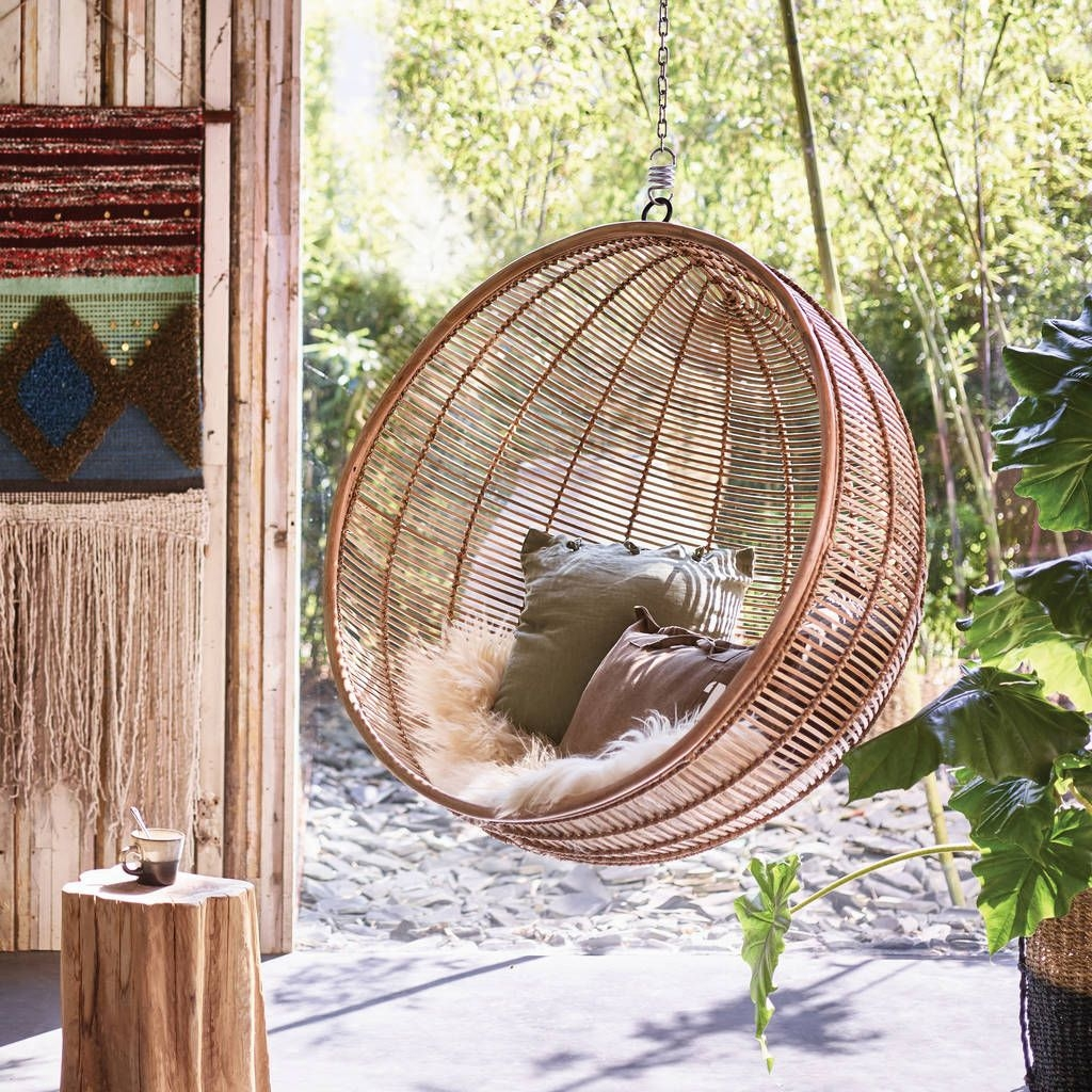 bali ball hanging rattan chair inside outside living