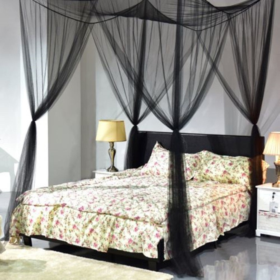 black four doors princess mosquito net double bed curtains sleeping curtain bed canopy net full queen king size net brand new