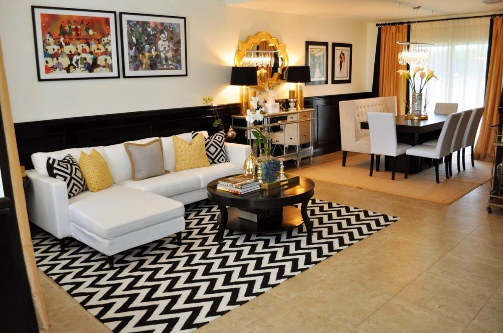black white apartment with gold accents gold living room