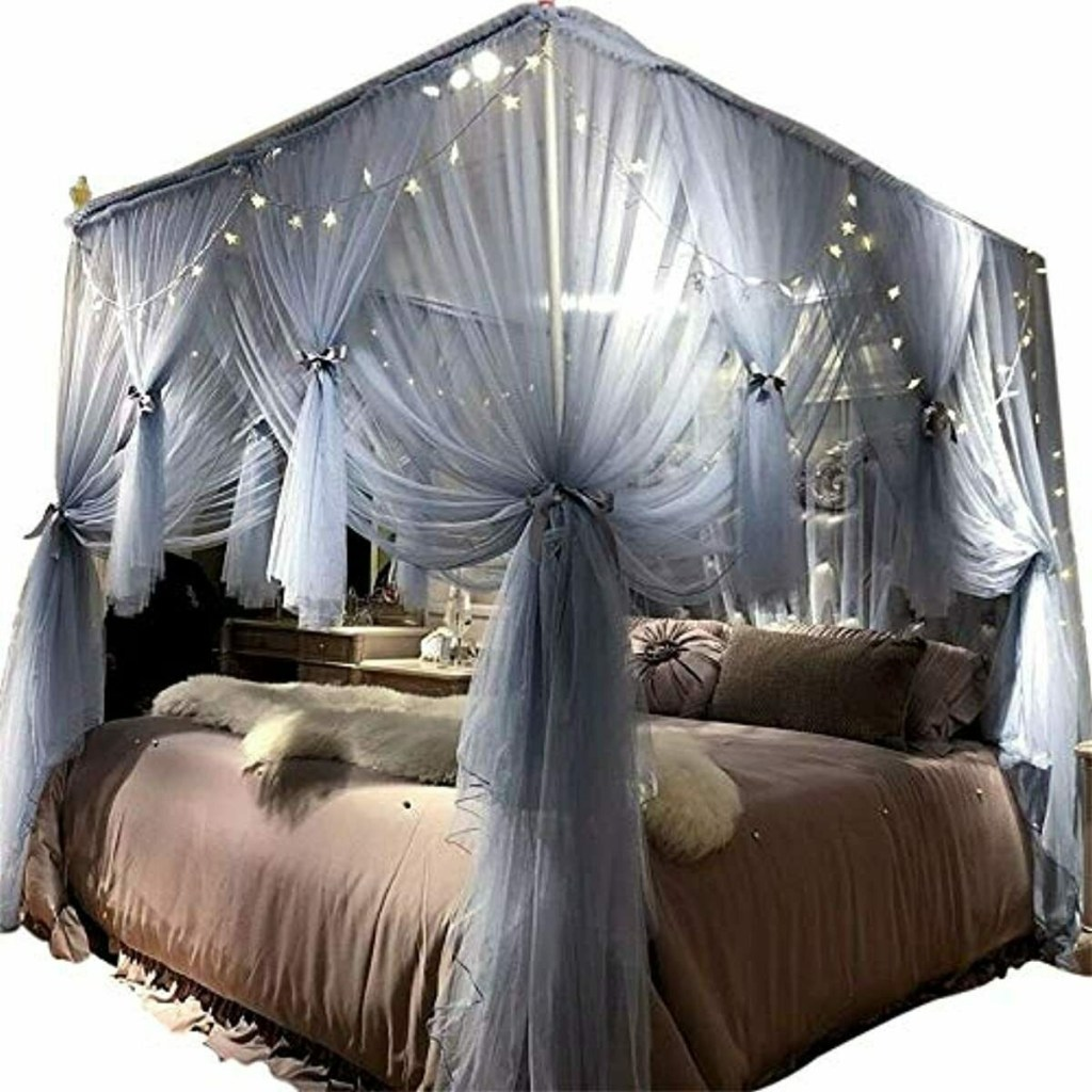 details about joyreap 4 corners post canopy bed curtain for girls adults royal luxurious c