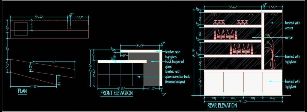 home bar unit plan and elevation dwg plan n design