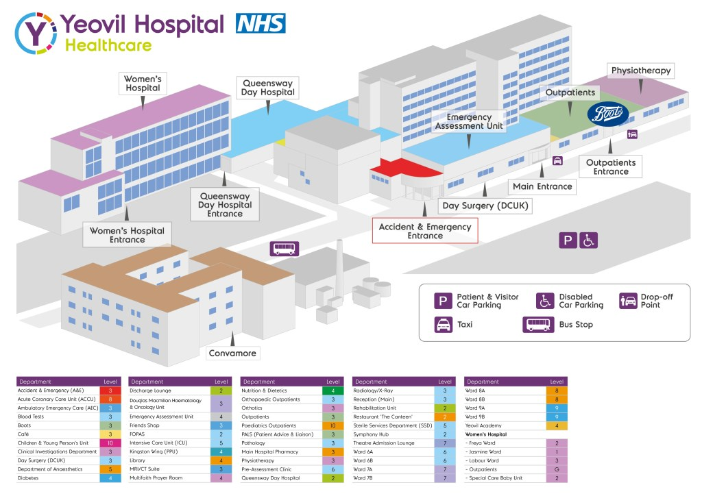 map and floor plan of hospital yeovil district hospital