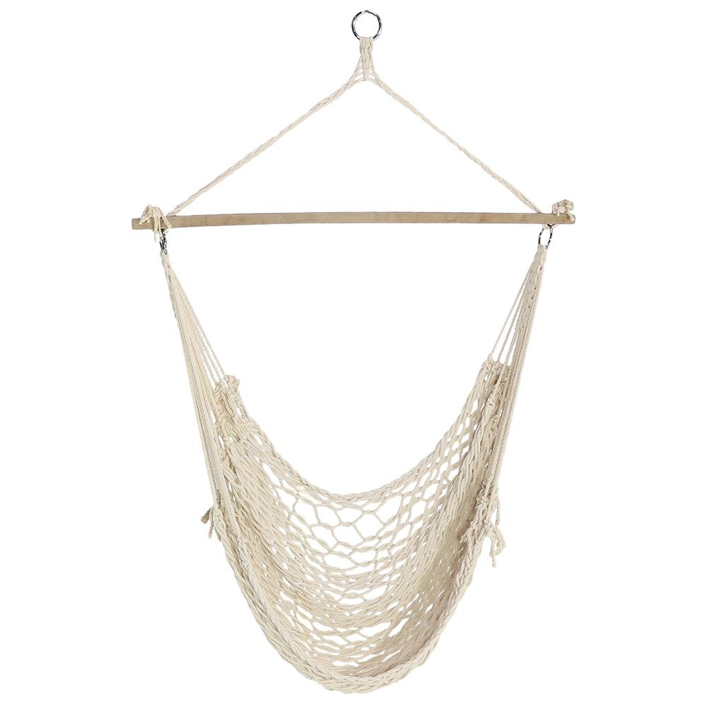 sunnydaze decor cotton rope 48 in portable hanging hammock chair swing ly crhchr the home depot