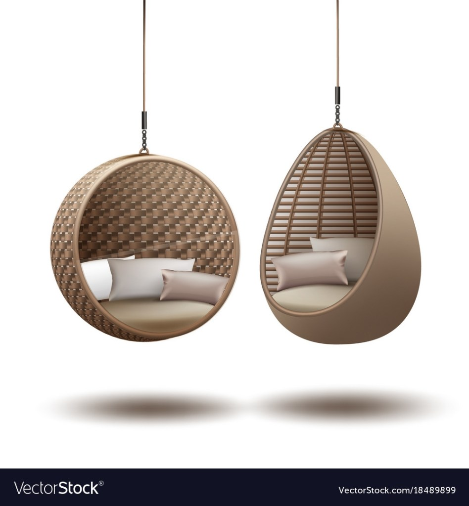 wicker hanging chairs royalty free vector image