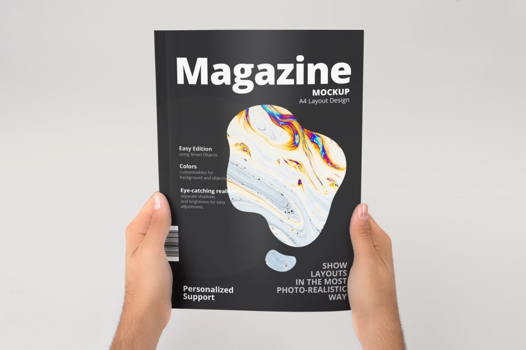 a4 magazine mockup in stationery mockups on yellow images