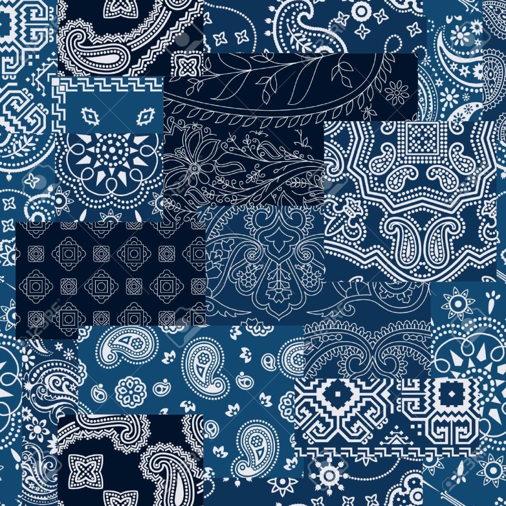 bandana kerchief fabric patchwork vector seamless pattern wallpaper