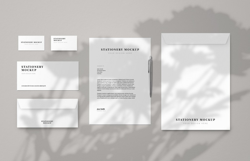 business stationery mockup in shadow free download