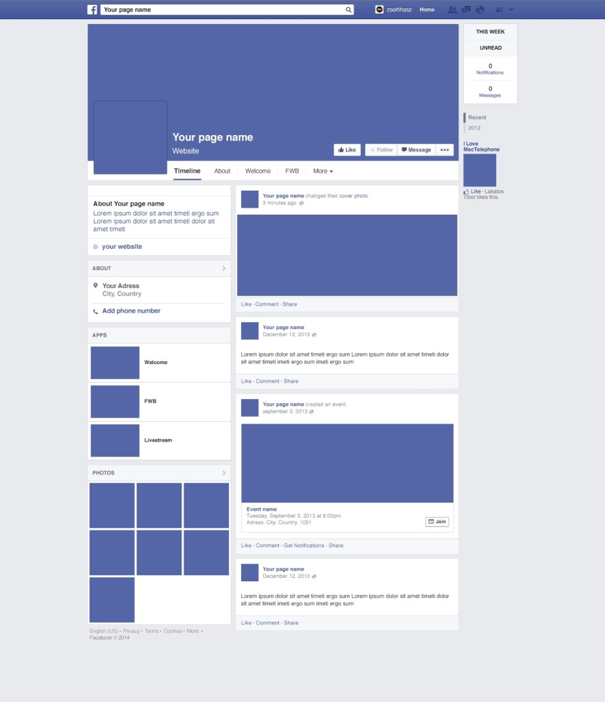 facebook page redesign mockup psd download mockup
