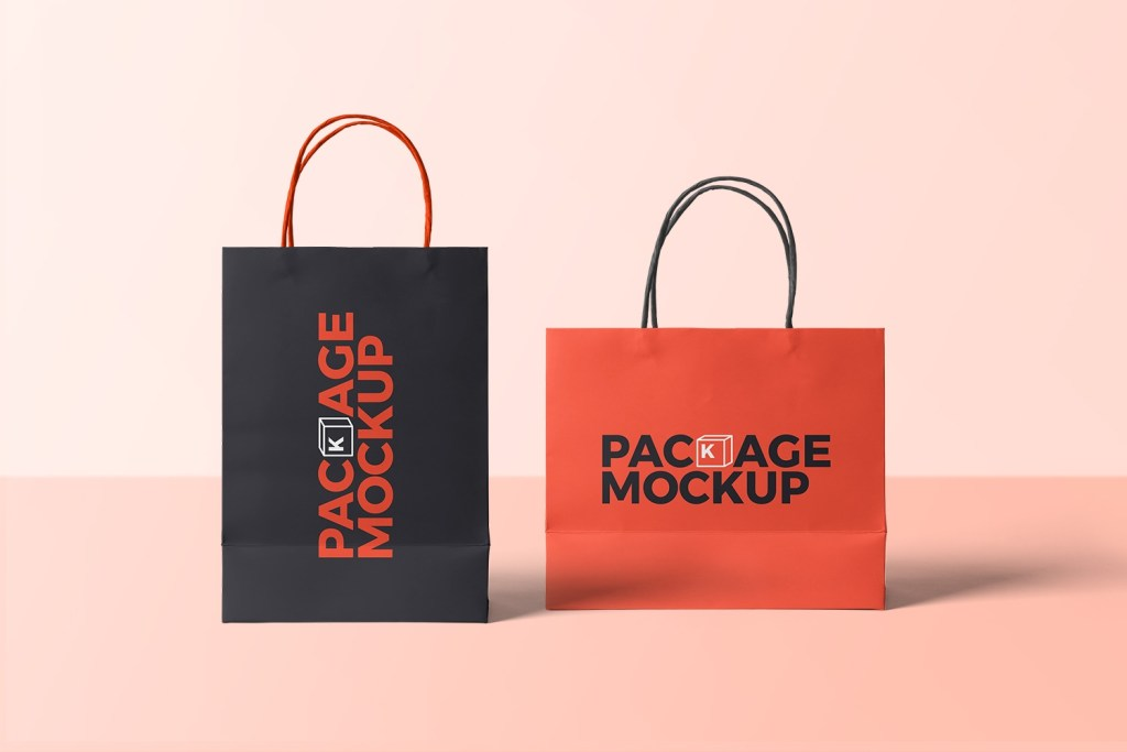 free 2 paper shopping bags mockup free package mockups