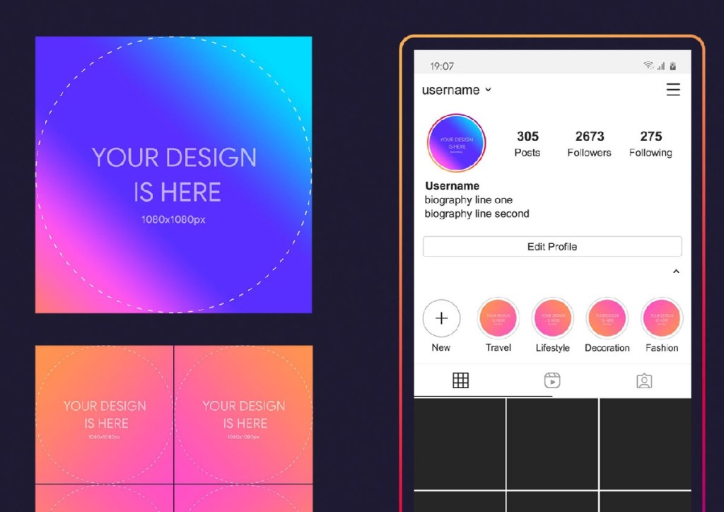 free instagram profile and story cover mockup 2020 psd