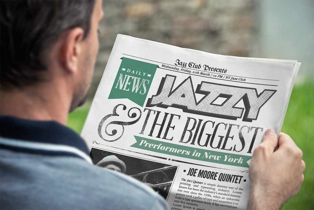 free man reading newspaper mockup designhooks