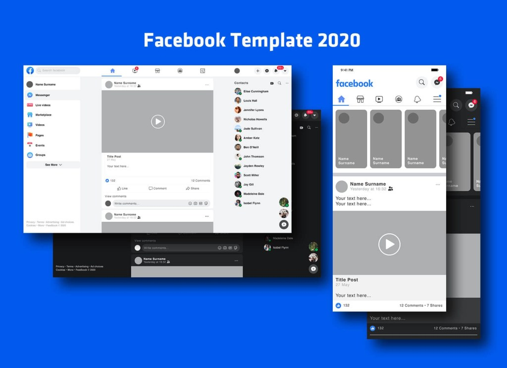free mobile desktop facebook post feed template 2020