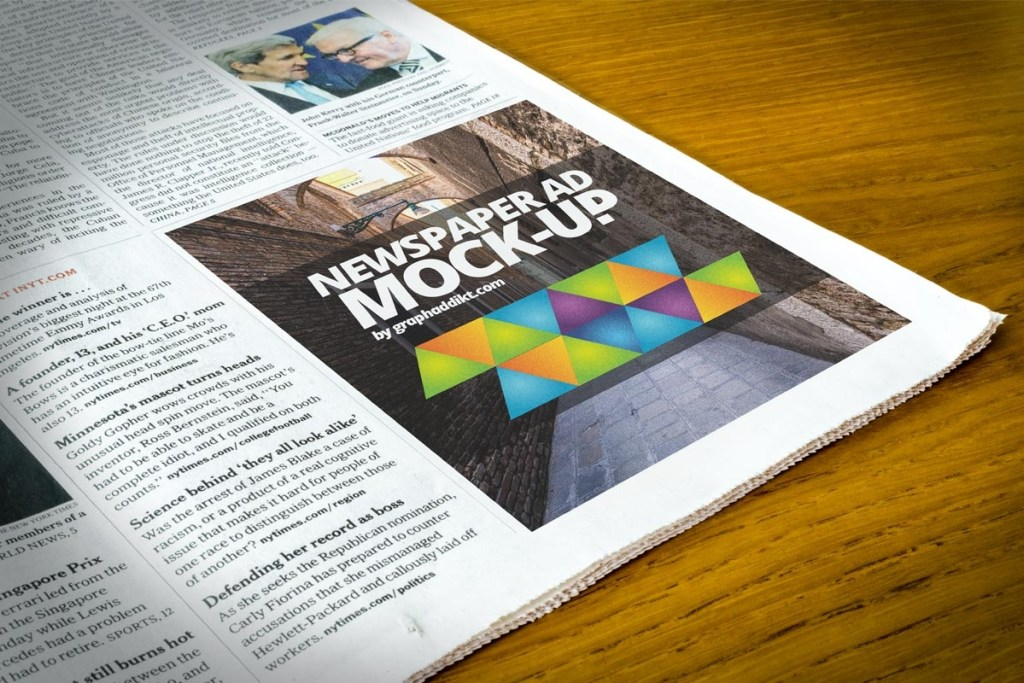 free newspaper advert mockup psd creativetacos