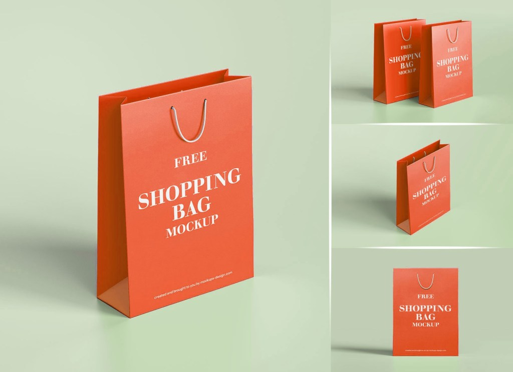 free thick matte finish rich quality paper shopping bag mockup