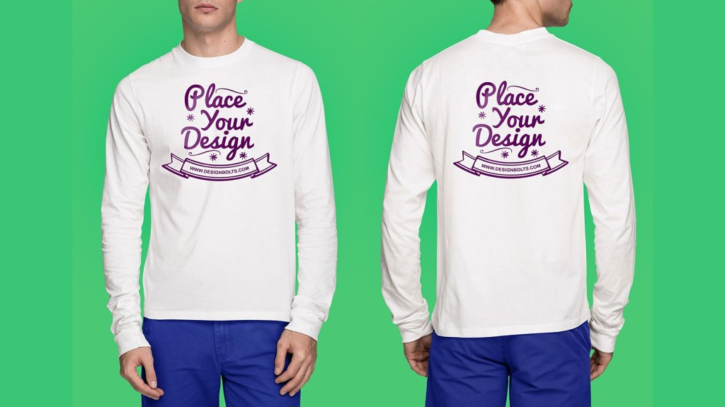 front back white long sleeves t shirt mockup best free