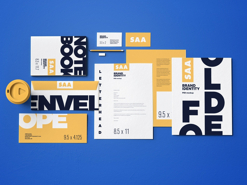 full brand identity and stationery mockup bundle psfiles