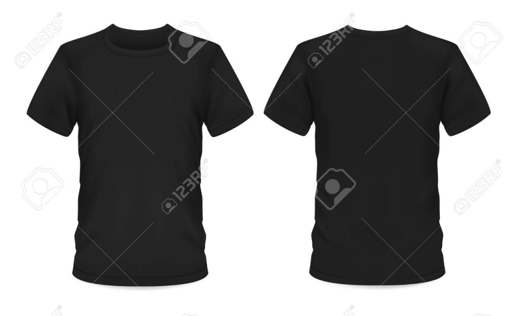 men t shirt vector black mockup template with short sleeve and round neck t shirt mockup menswear casual apparel clothing and sportswear front and