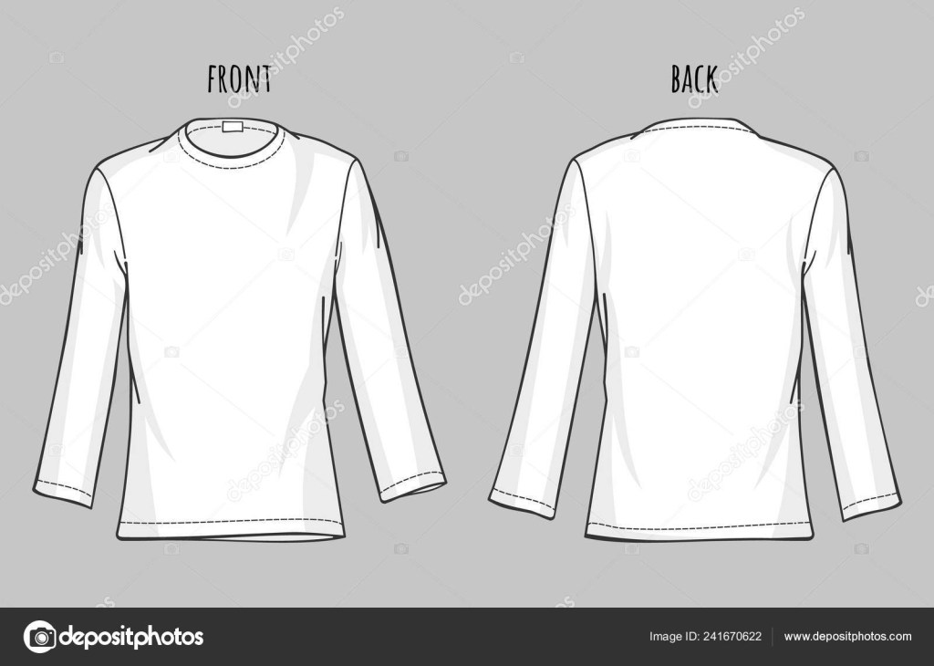 mens long sleeve shirt vector template white t shirt mockup front and backview 241670622