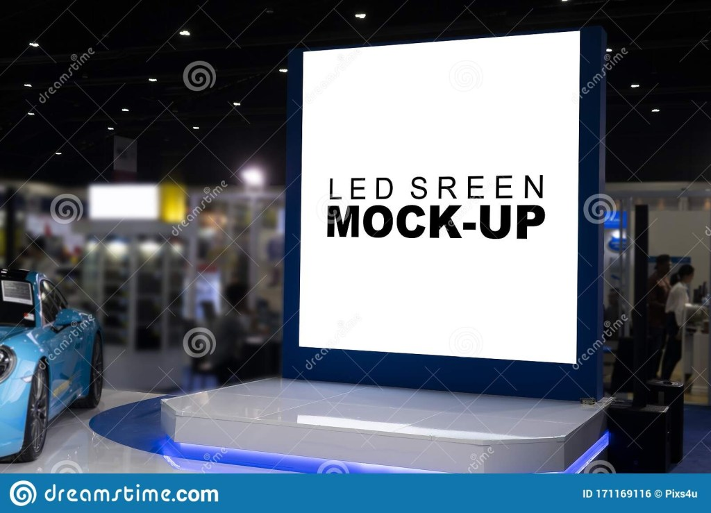 mock up led screen billboard on stage in exhibition show day