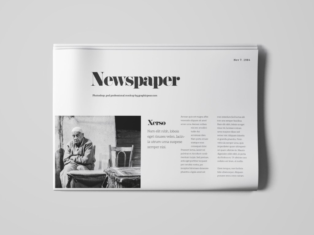 newspaper top view mockup