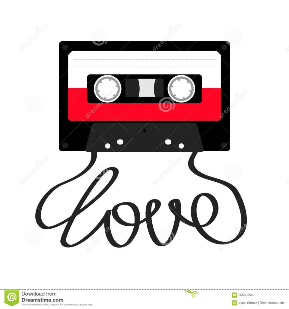 plastic audio tape cassette with tape word love retro music