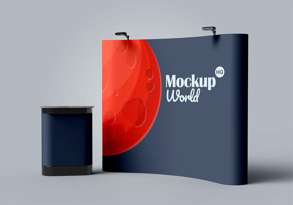 trade show exhibition booth stand mockup mockup world hq
