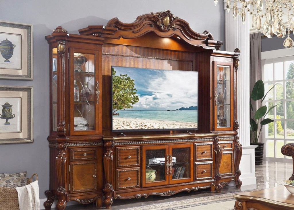 traditional tv entertainment center carved wood wall unit