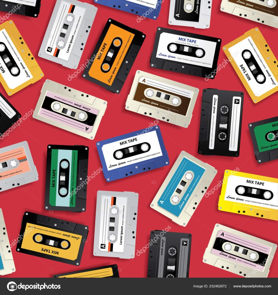 vintage retro cassette tape pattern design template vector illustration 252462672
