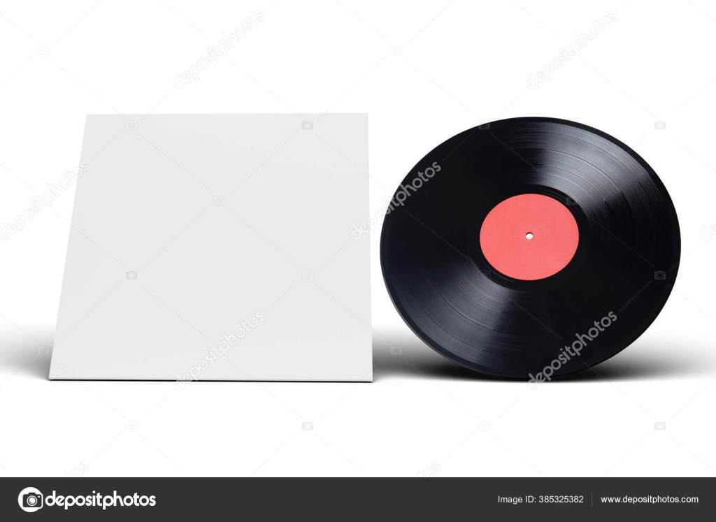vinyl lp record in cardboard cover on white background mock up design template 385325382