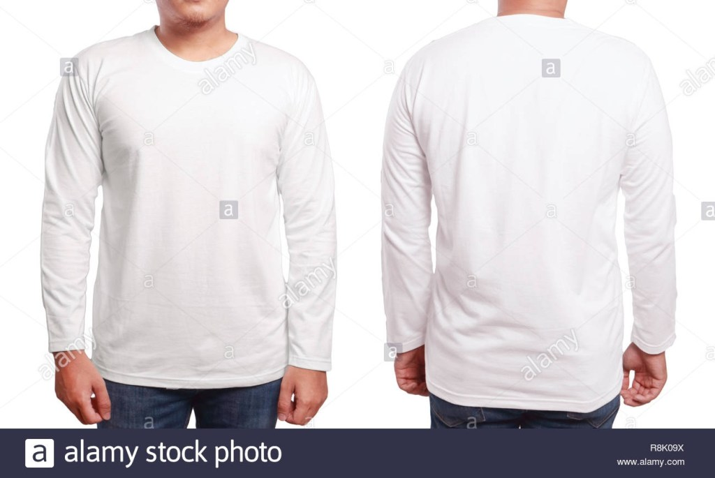 white long sleeved t shirt mock up front and back view