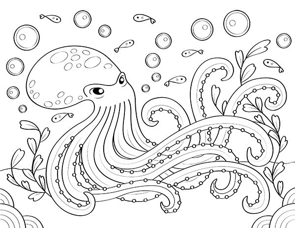 Coloring Page Of Octopus