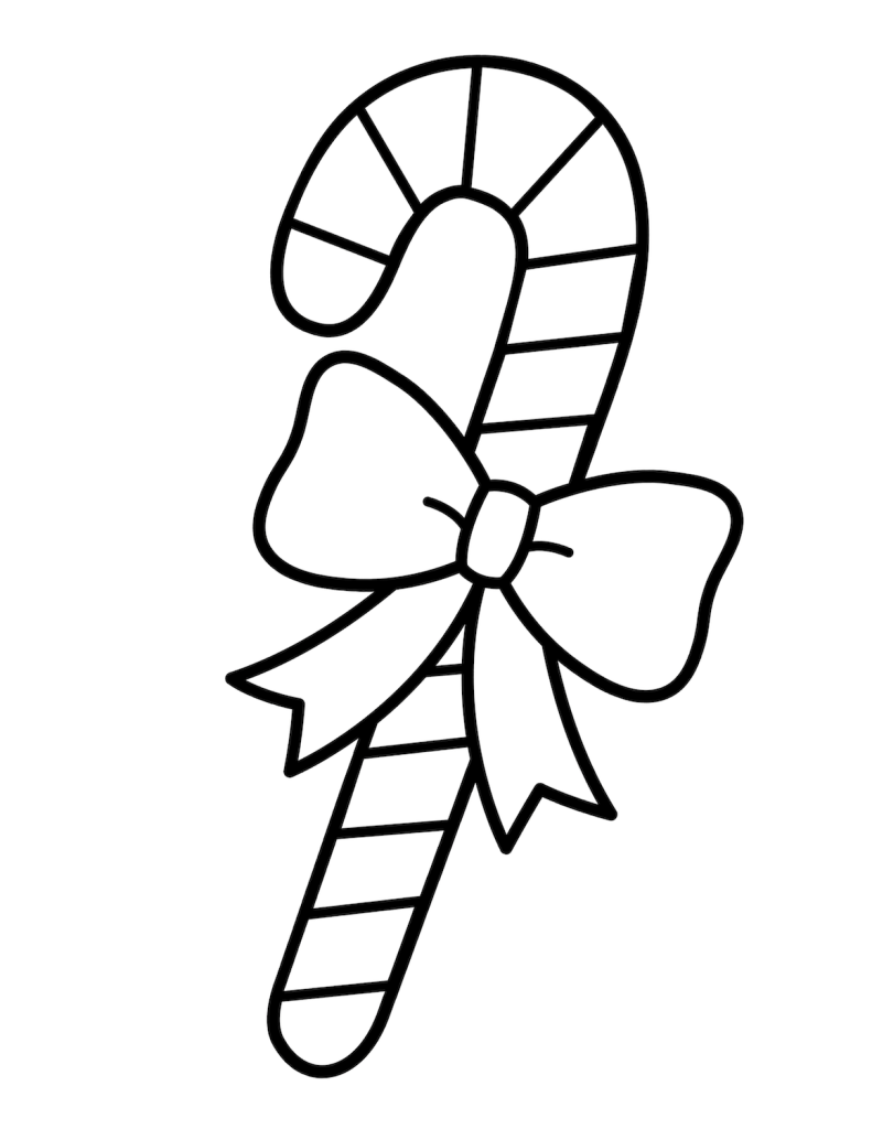 Easy Candy Cane Coloring Page
