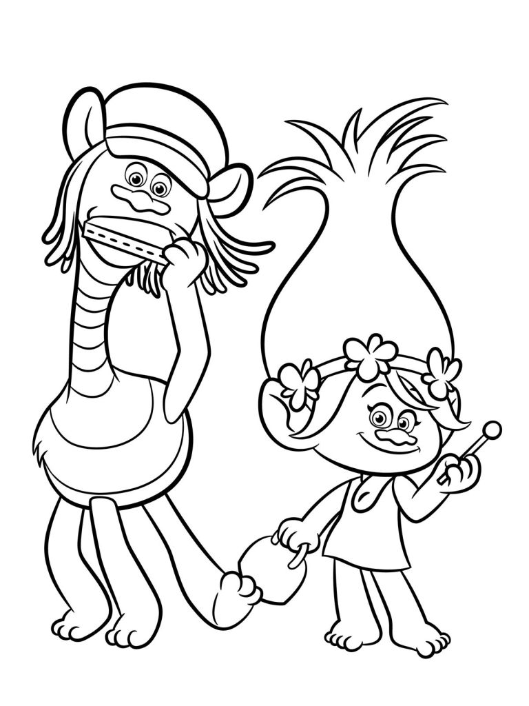 branch from trolls coloring page