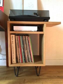 [Creation] Meuble de rangement pour vinyls et platines - chêne et pinlegs en acier