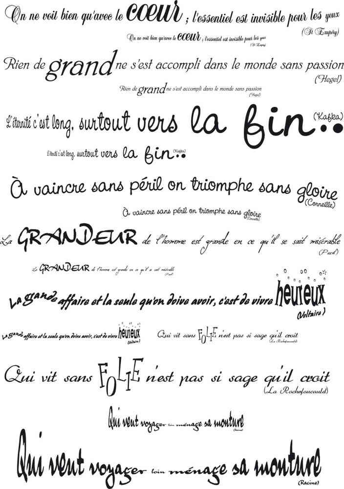 sticker mural citation et poeme clairefontaine