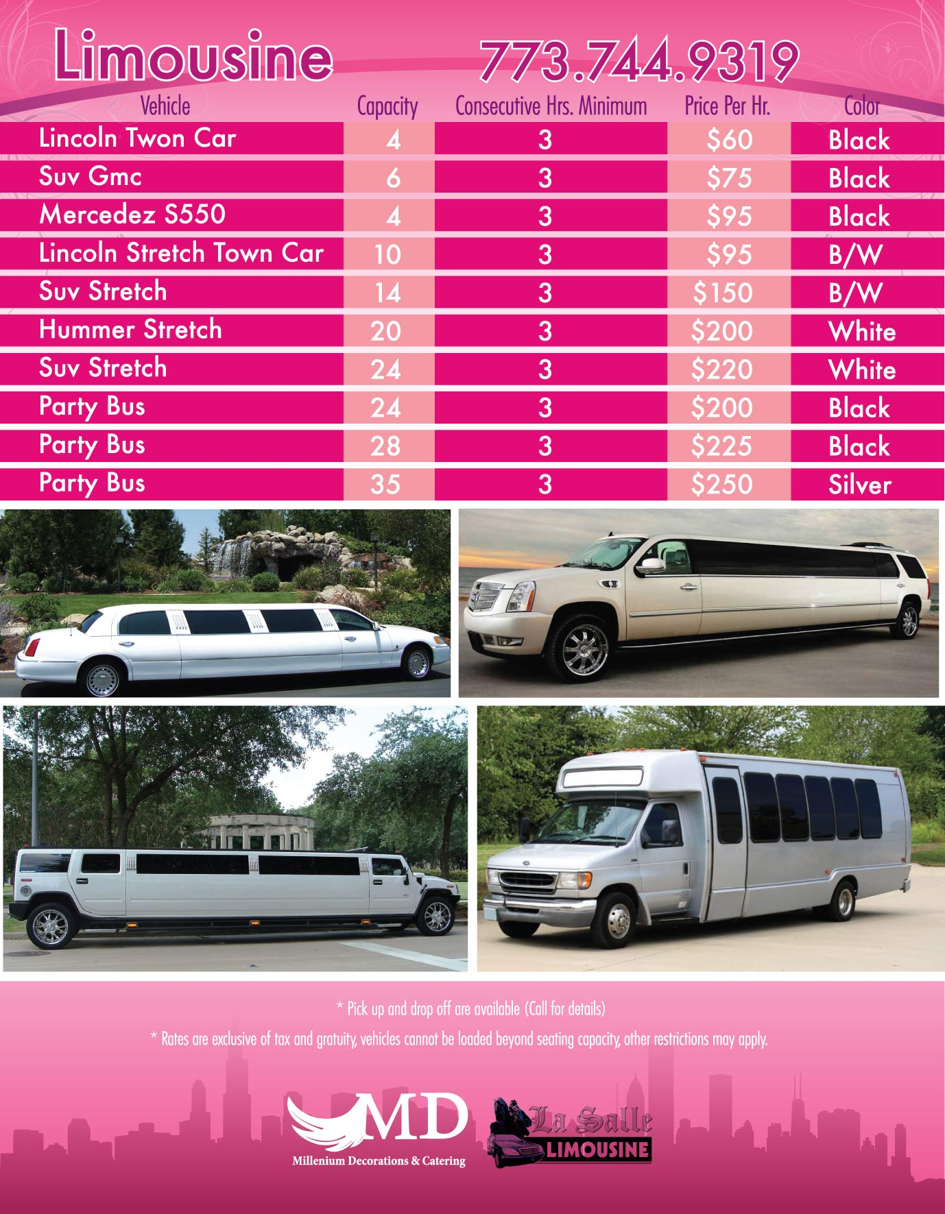 Limousine Rental low Prices in CHicago and Suburbs Weddings