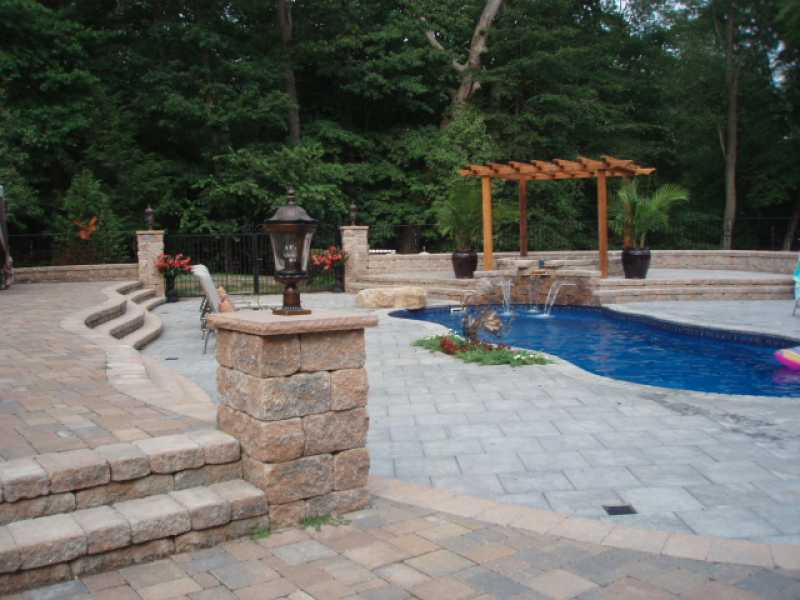 backyard pool deck and raised patio nj