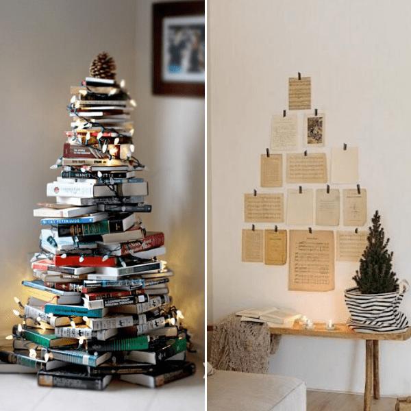 alternative christmas tree, holiday, christmas trees, book tree, paper tree